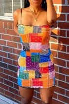Multicolor Fashion Sexy Print Backless Spaghetti Strap Sleeveless Dress