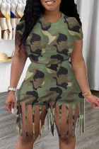 Green Fashion Casual Camouflage Print Tassel O Neck Short Sleeve Two Pieces