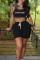Black Casual Sportswear Letter Print Vests U Neck Sleeveless Two Pieces