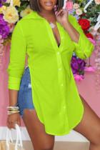 Fluorescent Green Fashion Casual Solid Slit Turndown Collar Tops