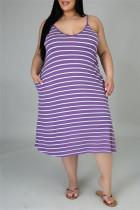 Purple Sexy Casual Plus Size Striped Print Backless Spaghetti Strap Sleeveless Dress