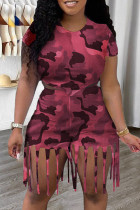 Red Fashion Casual Camouflage Print Tassel O Neck Short Sleeve Two Pieces