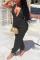 Black Sexy Solid Split Joint V Neck Harlan Jumpsuits