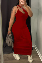 Red Sexy Casual Solid Hollowed Out Fold One Shoulder Sleeveless Dress
