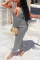 Grey Sexy Solid Split Joint V Neck Harlan Jumpsuits