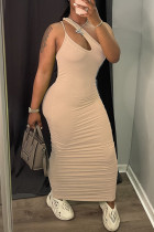 Apricot Sexy Casual Solid Hollowed Out Fold One Shoulder Sleeveless Dress