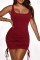 Burgundy Sexy Casual Solid Fold Strap Design U Neck Vest Dress
