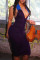 Dark Purple Fashion Sexy Solid Backless Fold V Neck Sleeveless Dress