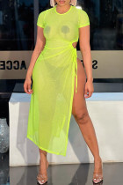 Fluorescent Green Fashion Sexy Solid See-through Slit O Neck Short Sleeve Dress
