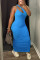 Blue Sexy Casual Solid Hollowed Out Fold One Shoulder Sleeveless Dress