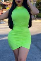 Light Green Fashion Sexy Solid Backless O Neck Sleeveless Dress