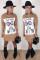 Khaki Casual Fashion adult Cap Sleeve Long Sleeves O neck Step Skirt Mini Print Long Sleeve Dre