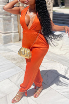 Tangerine Red Sexy Solid Split Joint V Neck Harlan Jumpsuits