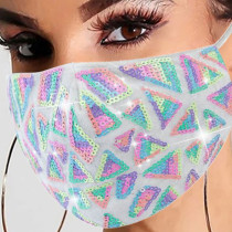 White Fashion Casual Patchwork Sequins Mask