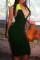 Ink Green Fashion Sexy Solid Backless Fold V Neck Sleeveless Dress