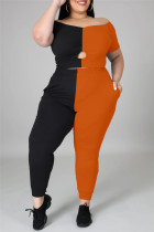 Orange Fashion Casual Patchwork Hollowed Out Off the Shoulder Plus Size Two Pieces