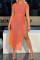 Orange Fashion Sexy Solid See-through Slit O Neck Short Sleeve Dress
