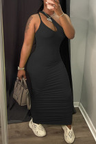 Black Sexy Casual Solid Hollowed Out Fold One Shoulder Sleeveless Dress