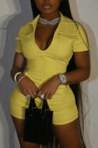 Yellow Casual Solid Split Joint Pocket Zipper Turndown Collar Skinny Jumpsuits