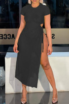 Black Fashion Sexy Solid See-through Slit O Neck Short Sleeve Dress