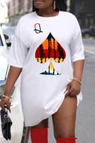 White Fashion Casual Plus Size Print Basic O Neck T-shirt Dress