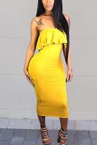 Yellow Sexy Flounce Strapless Dress