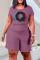 Light Purple Fashion Casual Print Basic O Neck Plus Size Short Sleeve Romper