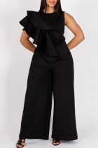 Black Fashion Casual Solid Split Joint O Neck Plus Size Jumpsuits