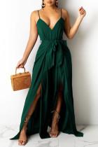 Green Fashion Sexy Solid Backless Slit Spaghetti Strap Regular Jumpsuits