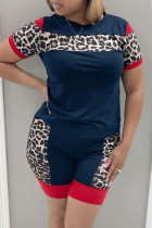 Blue Fashion Casual Leopard Split Joint O Neck Short Sleeve Two Pieces