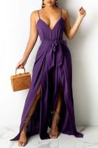 Purple Fashion Sexy Solid Backless Slit Spaghetti Strap Regular Jumpsuits