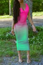 Green Fashion Sexy Gradual Change Print Basic V Neck Vest Dress