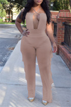 Brown Fashion Sexy Solid Hollowed Out Backless Halter Sleeveless Two Pieces