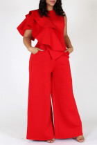 Red Fashion Casual Solid Split Joint O Neck Plus Size Jumpsuits