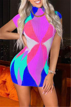 Blue Fashion Sexy Print Basic Turtleneck Sleeveless Dress