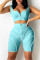 Light Blue Fashion Casual Solid Split Joint U Neck Sleeveless Two Pieces
