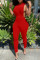 Red Sexy Casual Solid Hollowed Out Turndown Collar Skinny Jumpsuits