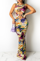 Multicolor Fashion Sexy Butterfly Print Hollowed Out O Neck Sleeveless Dress