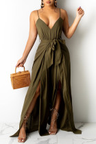 Army Green Fashion Sexy Solid Backless Slit Spaghetti Strap Regular Jumpsuits