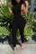 Black Sexy Casual Solid Hollowed Out Turndown Collar Skinny Jumpsuits