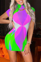 Light Green Fashion Sexy Print Basic Turtleneck Sleeveless Dress