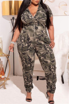 Green Fashion Casual Camouflage Print Basic Zipper Collar Plus Size Jumpsuits