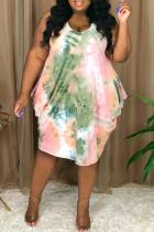 Pink Fashion Sexy Plus Size Print Tie Dye Asymmetrical O Neck Vest Dress