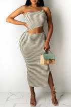 Light Brown Sexy Casual Striped Print Backless One Shoulder Sleeveless Two Pieces