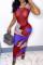 Red Fashion Sexy Print See-through O Neck Vest Dress
