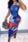 Blue Fashion Sexy Print See-through O Neck Vest Dress