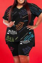 Black Fashion Casual Print Slit V Neck Plus Size Two Pieces