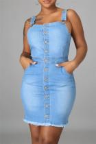 Light Blue Fashion Sexy Solid Backless Spaghetti Strap Denim Dress