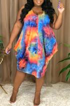 Blue Fashion Sexy Plus Size Print Tie Dye Asymmetrical O Neck Vest Dress