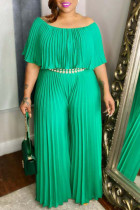 Green Casual Solid Split Joint Fold Off the Shoulder Plus Size Jumpsuits